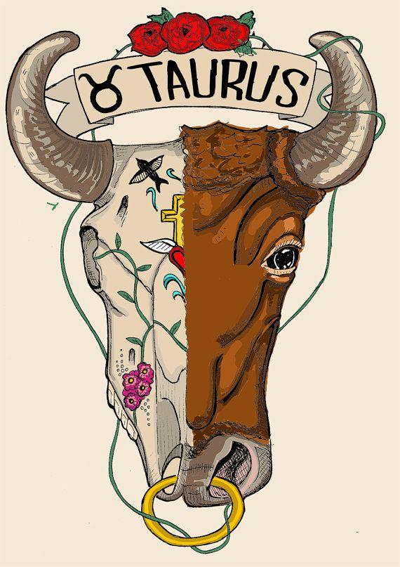 Frida Kahlo Bullskull Limited Edition Taurus Zodiac Sign Original