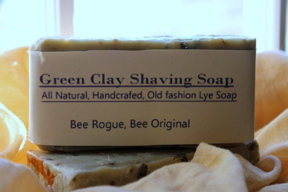3 bars Green Clay Shaving Soap all natural handcrafted by BeeRogue, $16.00