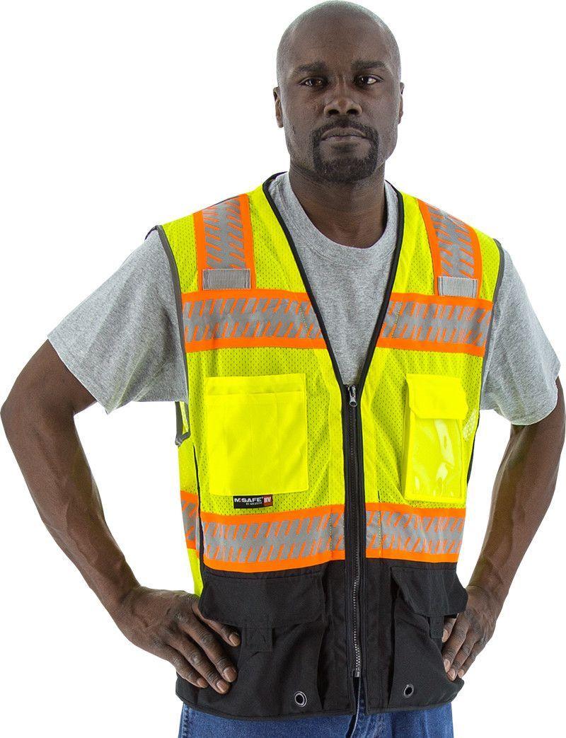 Safety vest majestic 753239 cl2 hi vis vest with black