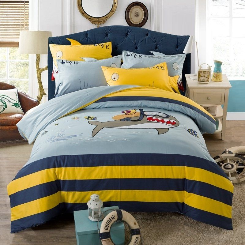 Kids Royal Blue Yellow And Light Blue Great White Shark