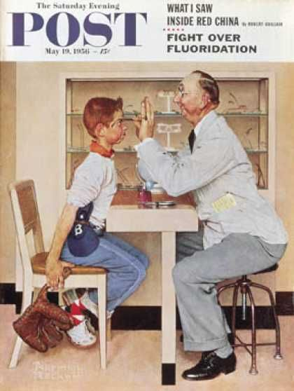 """Saturday Evening Post - 1956-05-19: """"At the Optometrist"""" or """"Eye   Doctor"""" (Norman Rockwell)"""