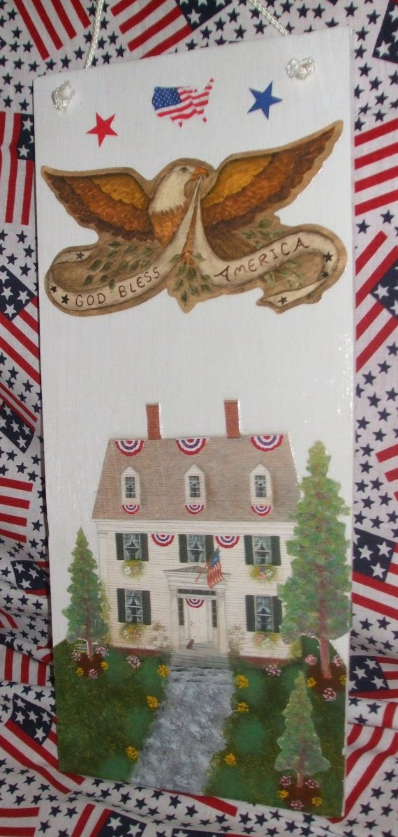 PATRIOTIC SIGN    God Bless America by mareestreasures on Etsy, $15.00