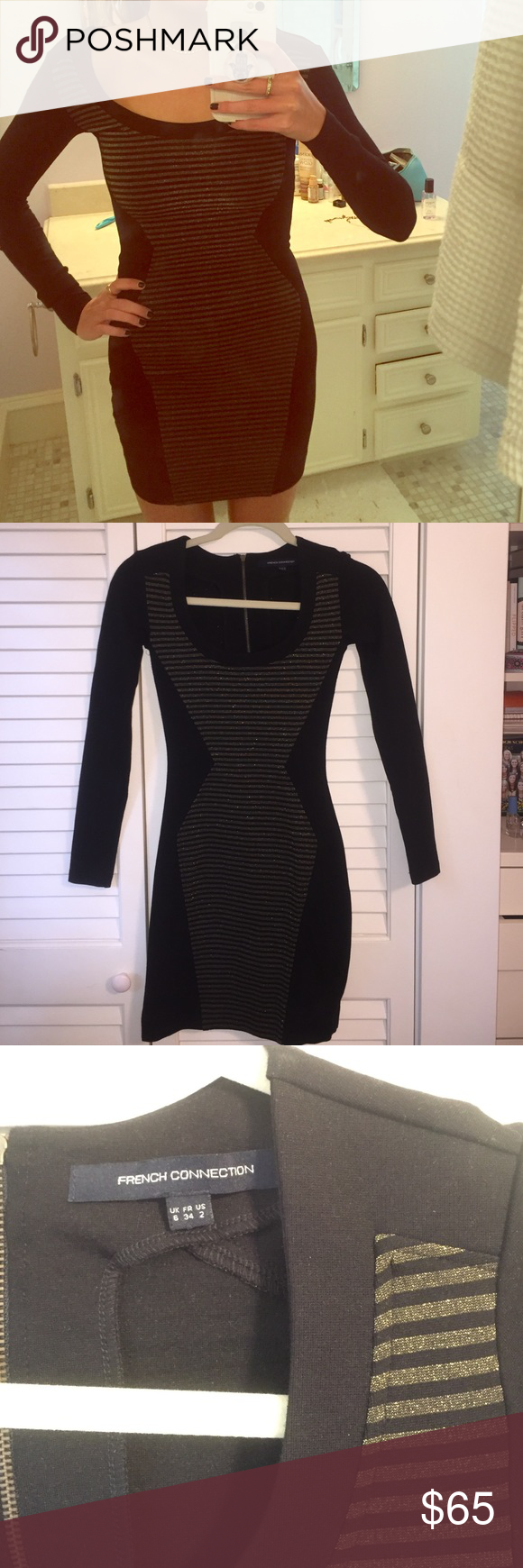 French connection black and gold dress black and gold long sleeve