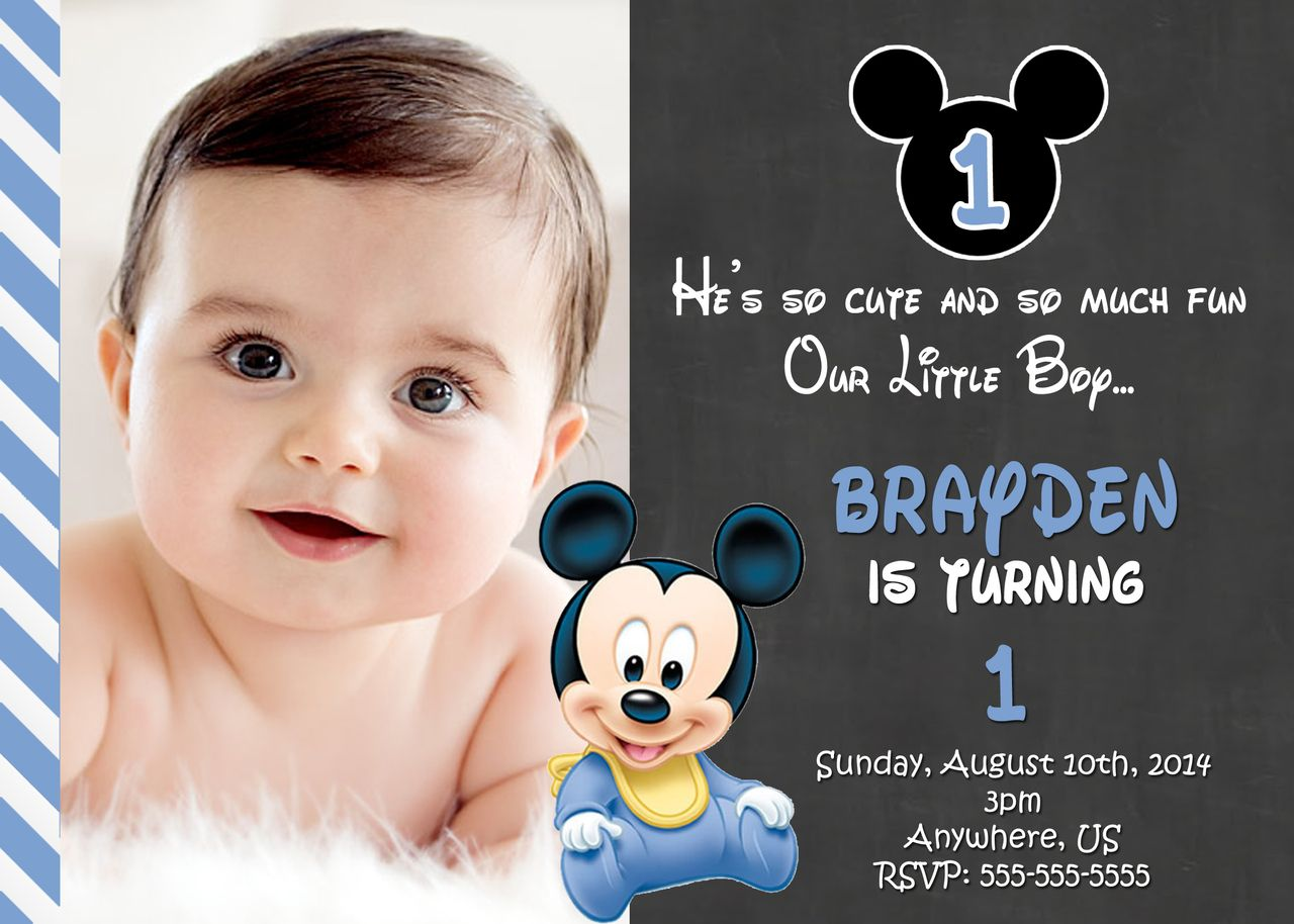 Mickey Mouse 1st Birthday Invitations Birthday Invitation Card Template Boy Birthday Invitations 1st Birthday Invitations