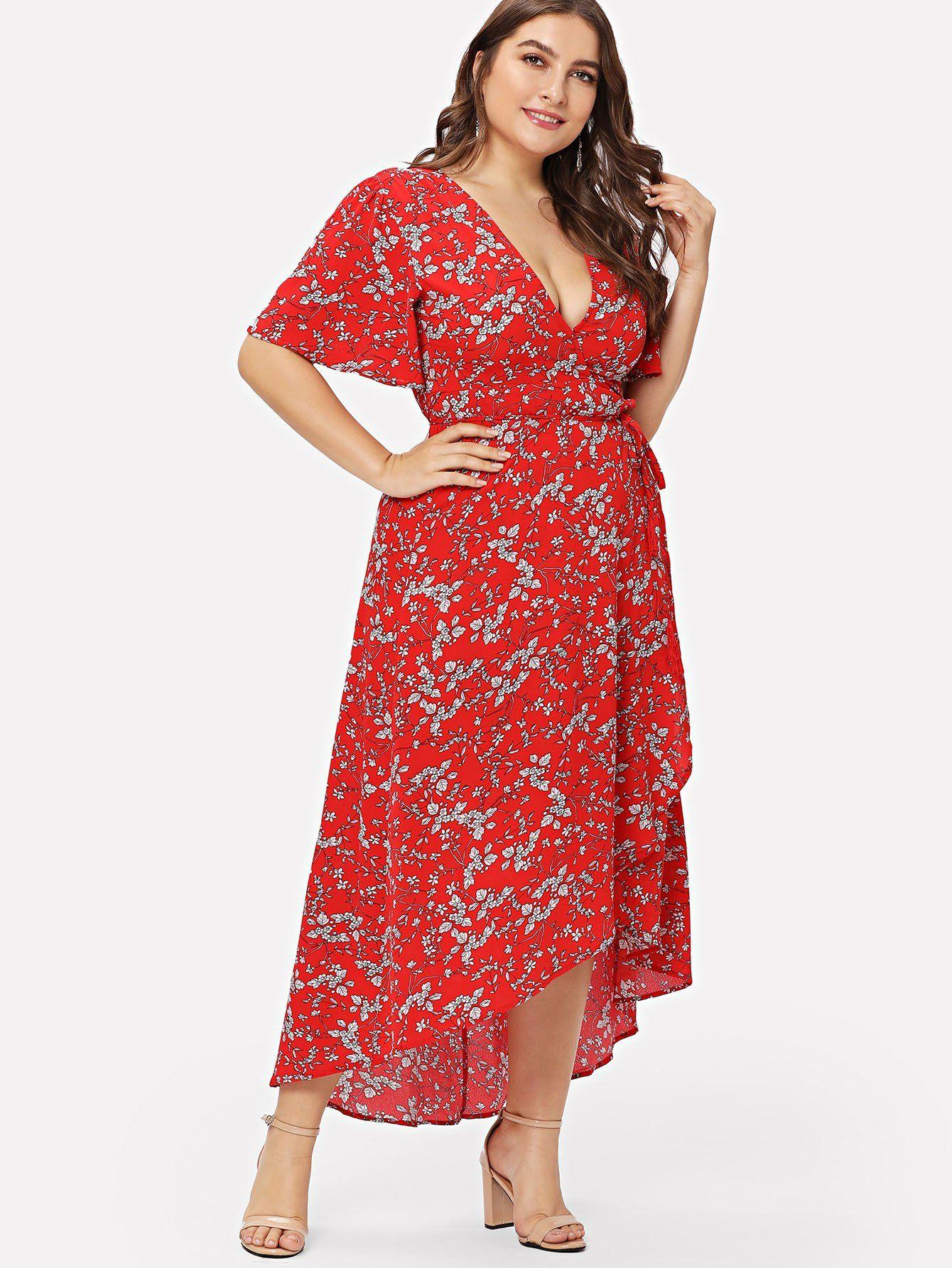 5477bb77b8 Plus Asymmetric Ruffle Hem Botanical Wrap Dress -SheIn(Sheinside ...