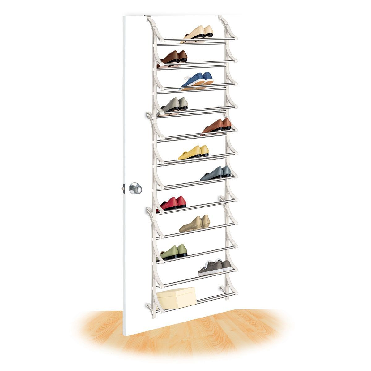 This Strong Steel And Polymer Shoe Rack Holds 36 Pairs Of Shoes Or 36  Shoeboxes.