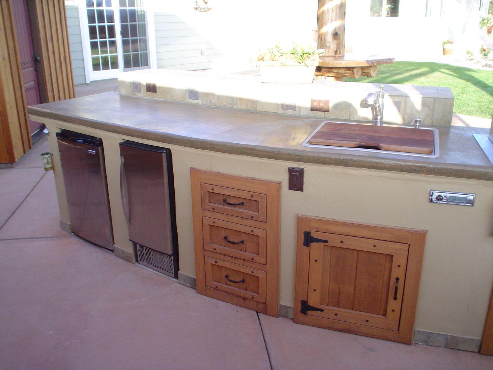 2 Tone Island With Wood Doors Wood Cabinet Doors Outdoor Kitchen Cabinets Modular Outdoor Kitchens