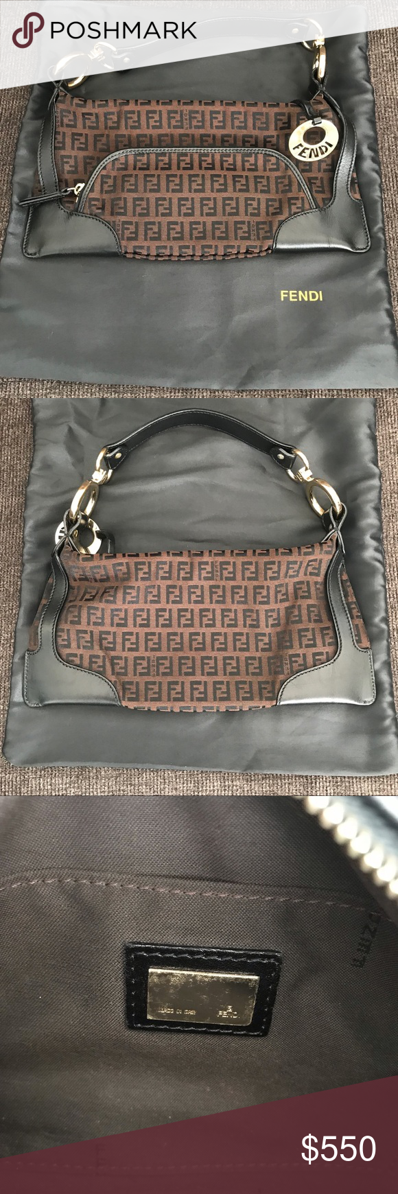 c18fdaa67a93 Fendi Zucca Leather Trim Authentic Fendi Zucca Leather Trim Authentic The  bag features a dark chocolate