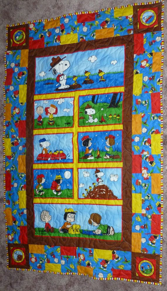 Peanuts Goes Camping Quilt, Camping Pictures and Activities with the Peanuts Gang #campingpictures