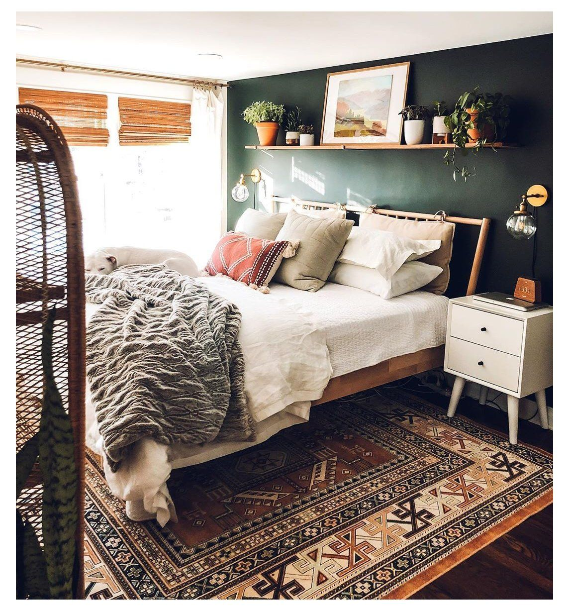 white bedding with accent pillows boho bedroom