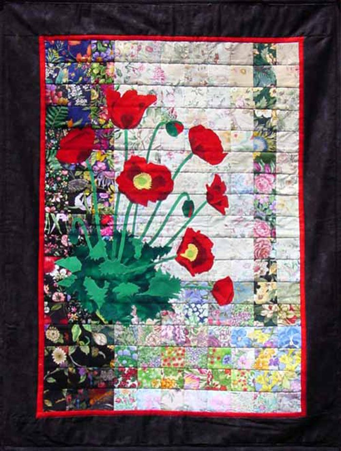 Red Poppies Quilt Kit Whim 136 Watercolor Quilt Flower