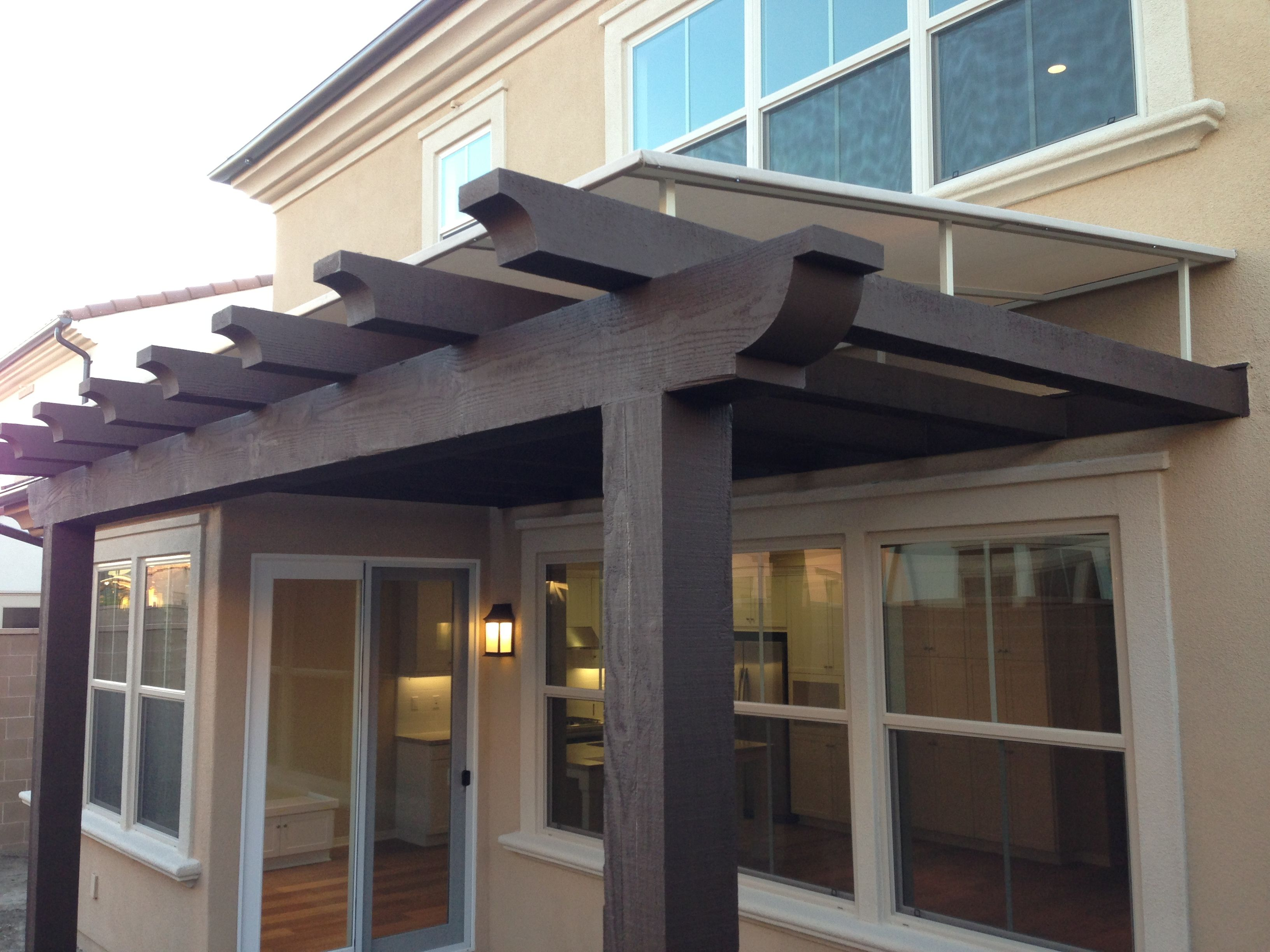 Prefabricated Porches decorations-exterior-strikking-sloped-roof-pergola-cover-with-wood