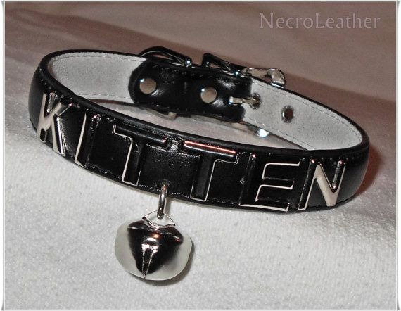 Submissive Kitten Bell Choker Genuine Leather Day Collar