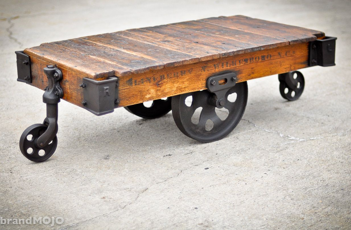 Vintage Industrial Cart Coffee Table Steampunk Home Decor