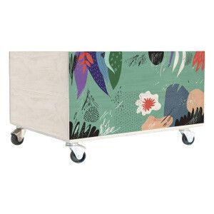 Caisse de rangement Abstract vert et violet  40 x 23 x 32 cm