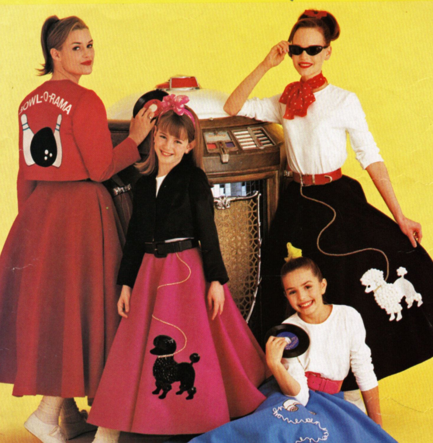 Misses Or Womens Retro Happy Days Era Sock Hop Bobby Socks Halloween Costume Pattern Including Poodle Skirt And Telephone Appliques