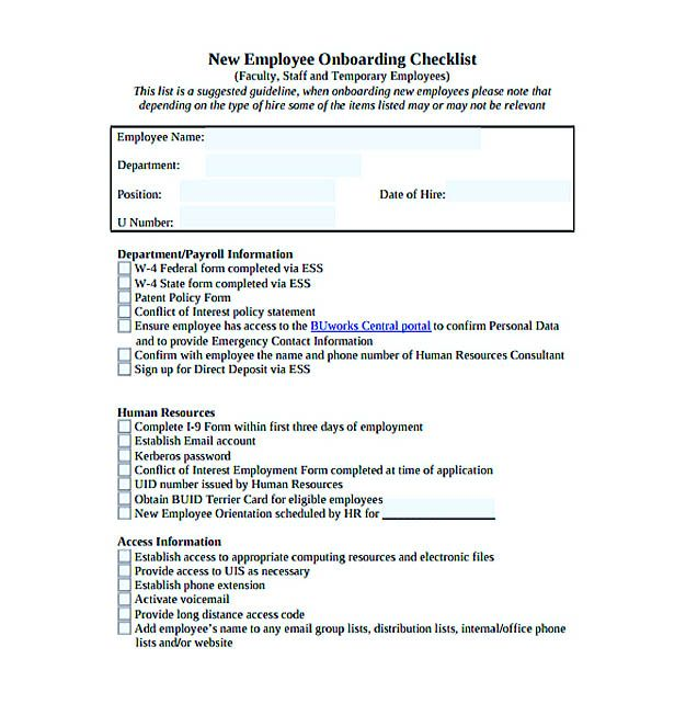 New Employee Onboarding Checklist Template Free Download