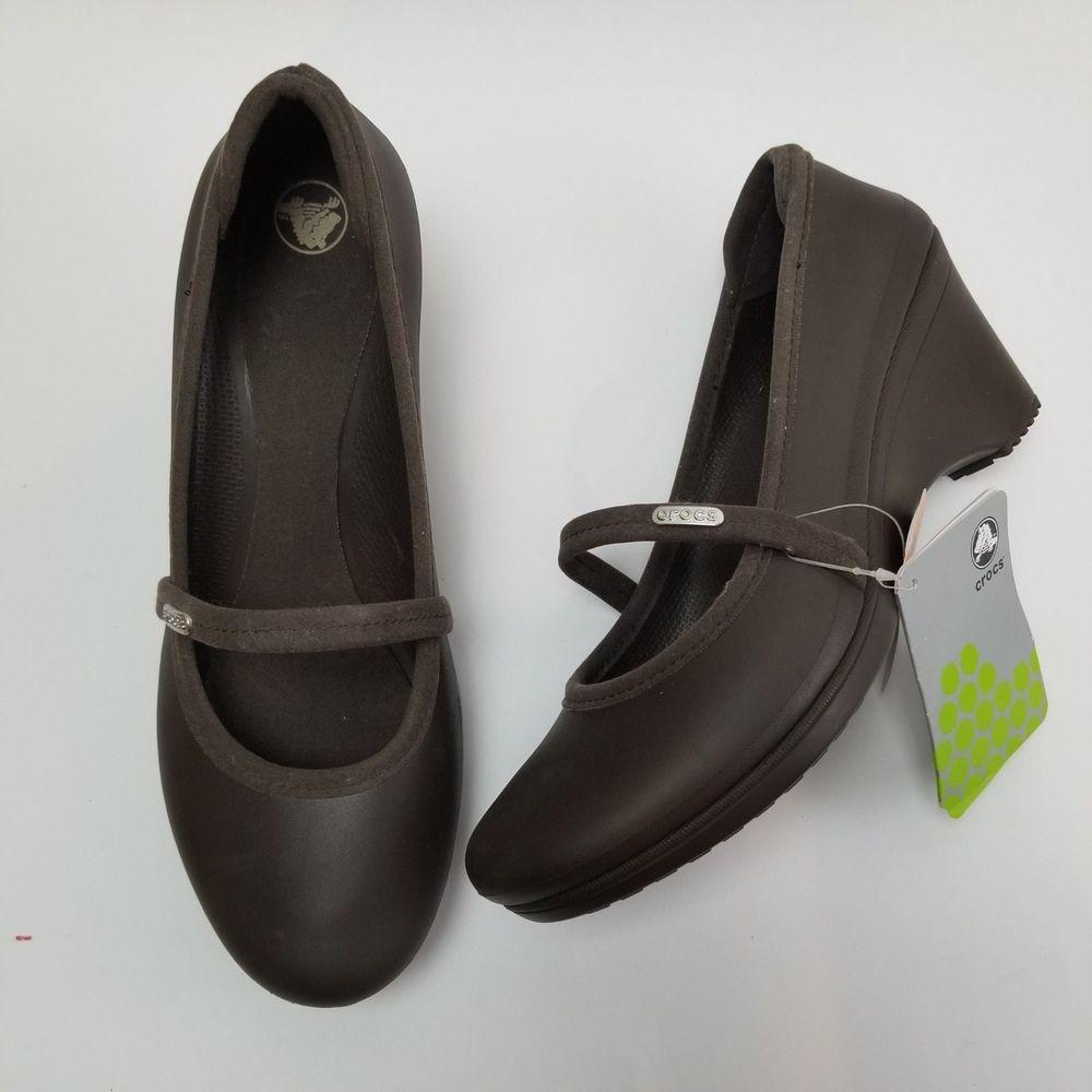 756b0192b Crocs Brown Casey Wedges Mary Jane Slip On Pump Comfort Womens Size 11  Espresso  Crocs  MaryJanes  Work
