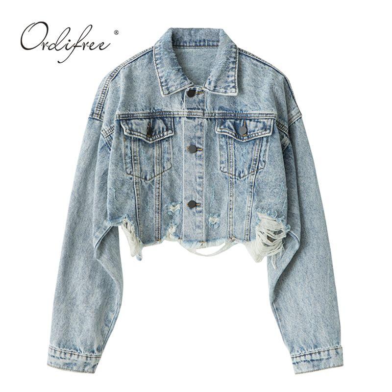 Fashion Mens Washed Blue Denim Jacket Lapel Ripped Hole Frayed Short Jean Coat