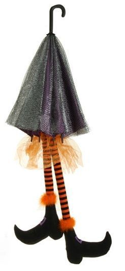 raz imports 52 black umbrella with witch legs tulle boots halloween