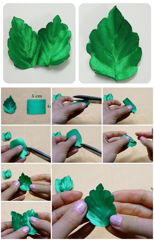 How to Make Ribbon Leaves | UsefulDIY.com #ribbonflower