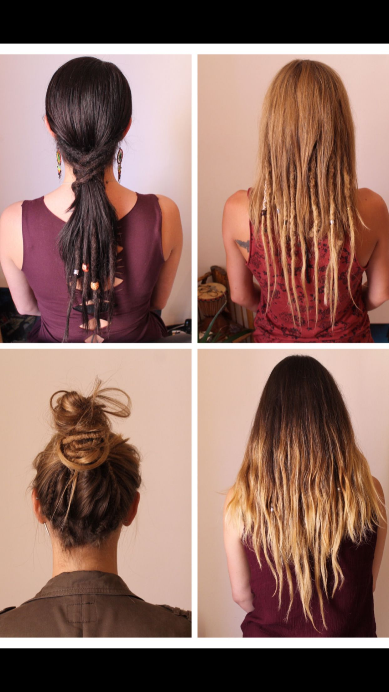 Bottom Left Half Dreads Partial Dreads Hippie Hair
