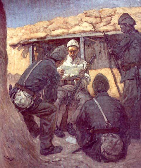 Yağlı Boya Tablo Askerlerkurtuluş Savaşında Siperde Mektup Okuyan