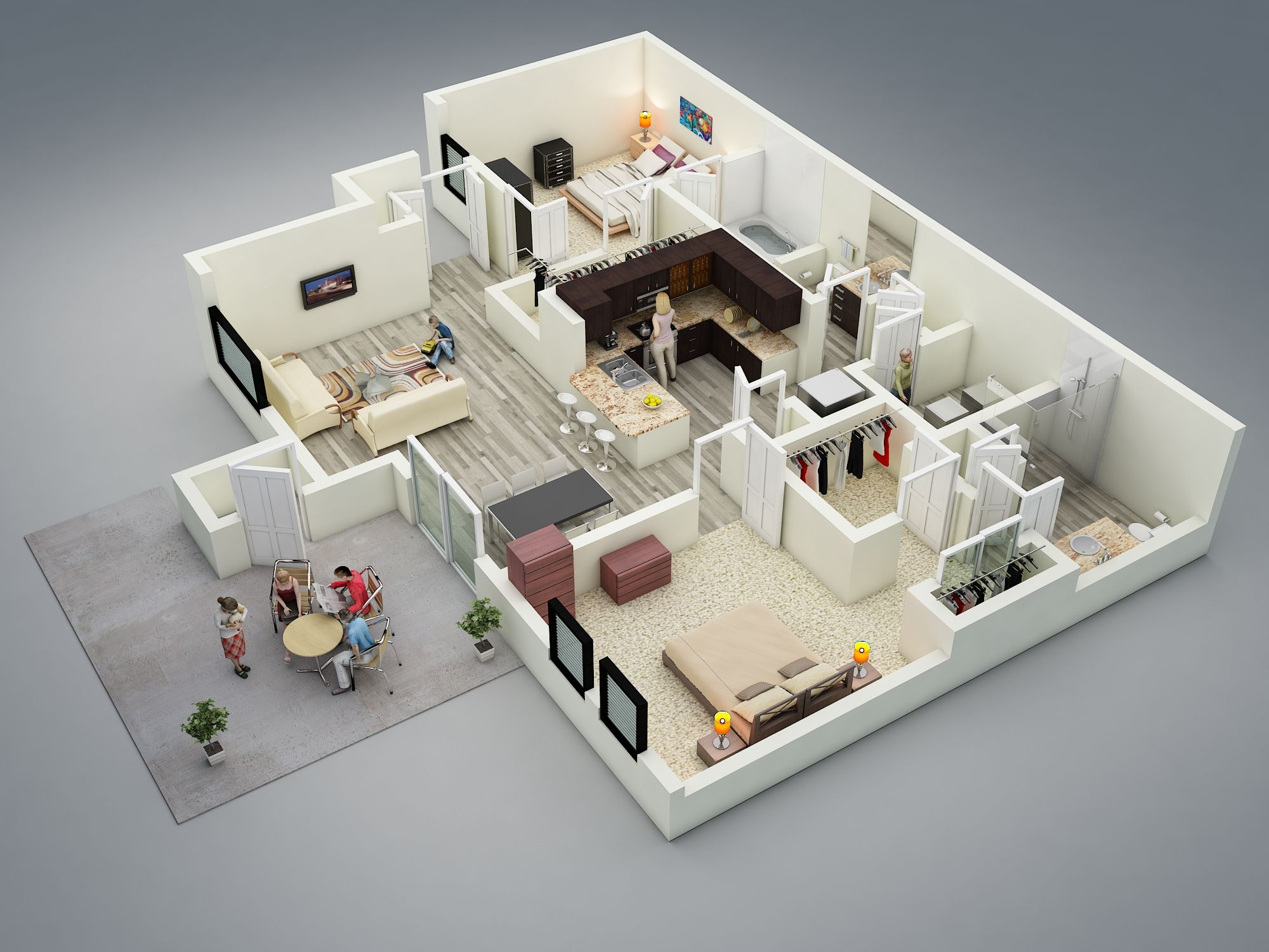 3d Floor Plan On The Basis Of 2d Layout If Interested 3d Services Contact Us Floor Plan Design 2 Bedroom House Plans House Plans
