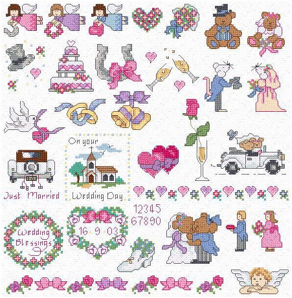 maria diaz designs wedding motifs cross stitch chart