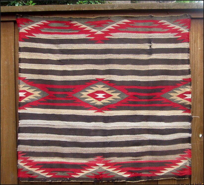 Old Damaged Third Phase Chiefs Blanket Navajo Rug