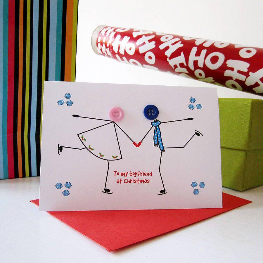 Skating\' Button Christmas Card | Cards, Christmas cards and Card ideas