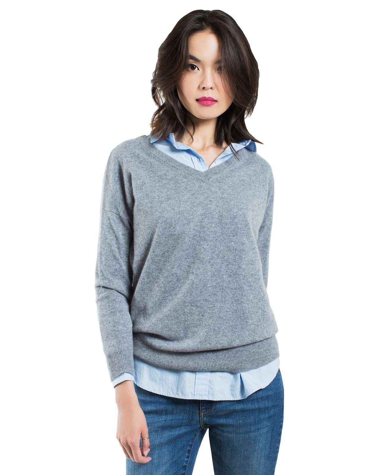 Women's Cashmere Boyfriend V-Neck Sweater - Boyfriend V-Neck ...