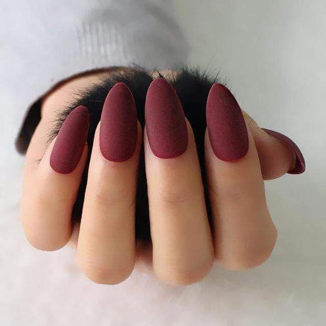 "Photo of ""Intense"" Matte Stiletto / Mandel False Nails"