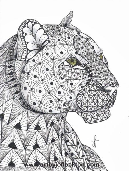 Tangled Leopard Abstract Doodle Zentangle Coloring Pages Colouring Adult Detailed Advanced Printable Kle Coloring Pages Animal Coloring Pages Zentangle Animals
