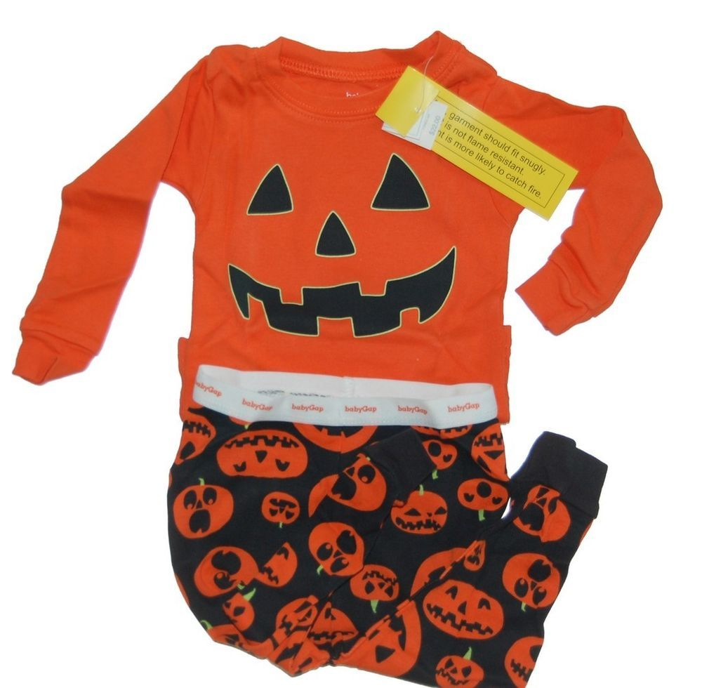 baby gap girls boys halloween pumpkin glow dark pajamas 6-12 mos new