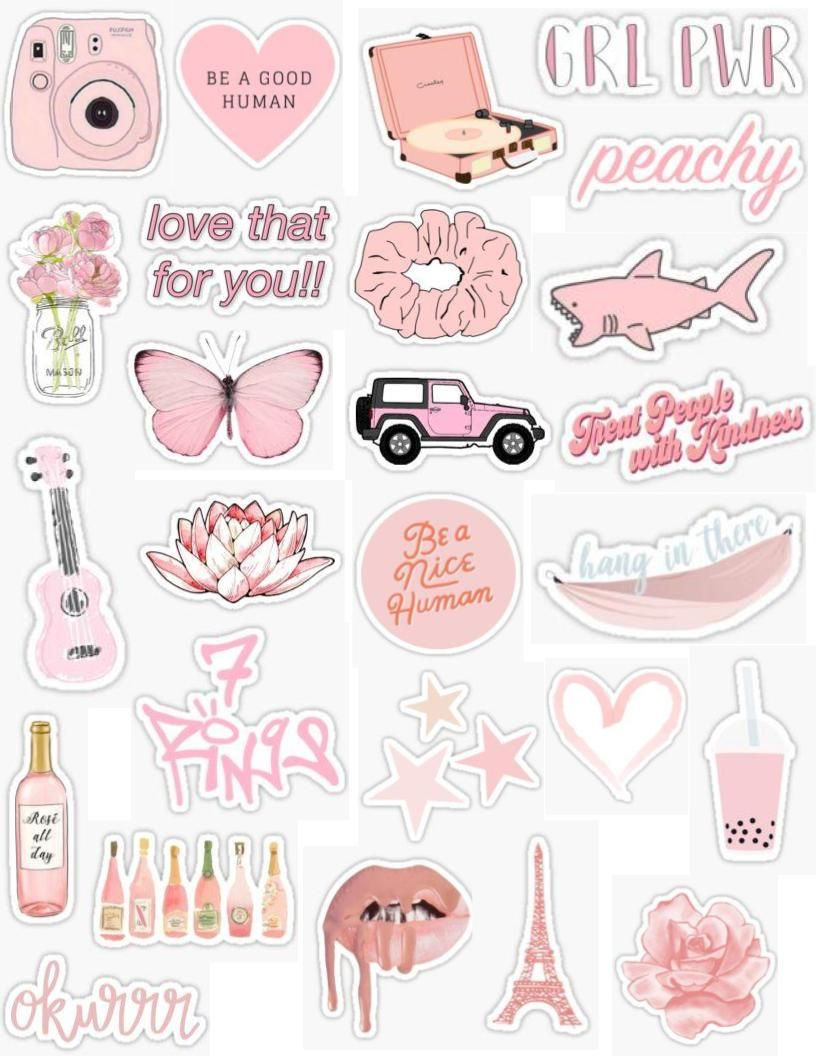 Pink sticker pack pink stickers light pink peachy pink peach baby pink pastel pink light retro