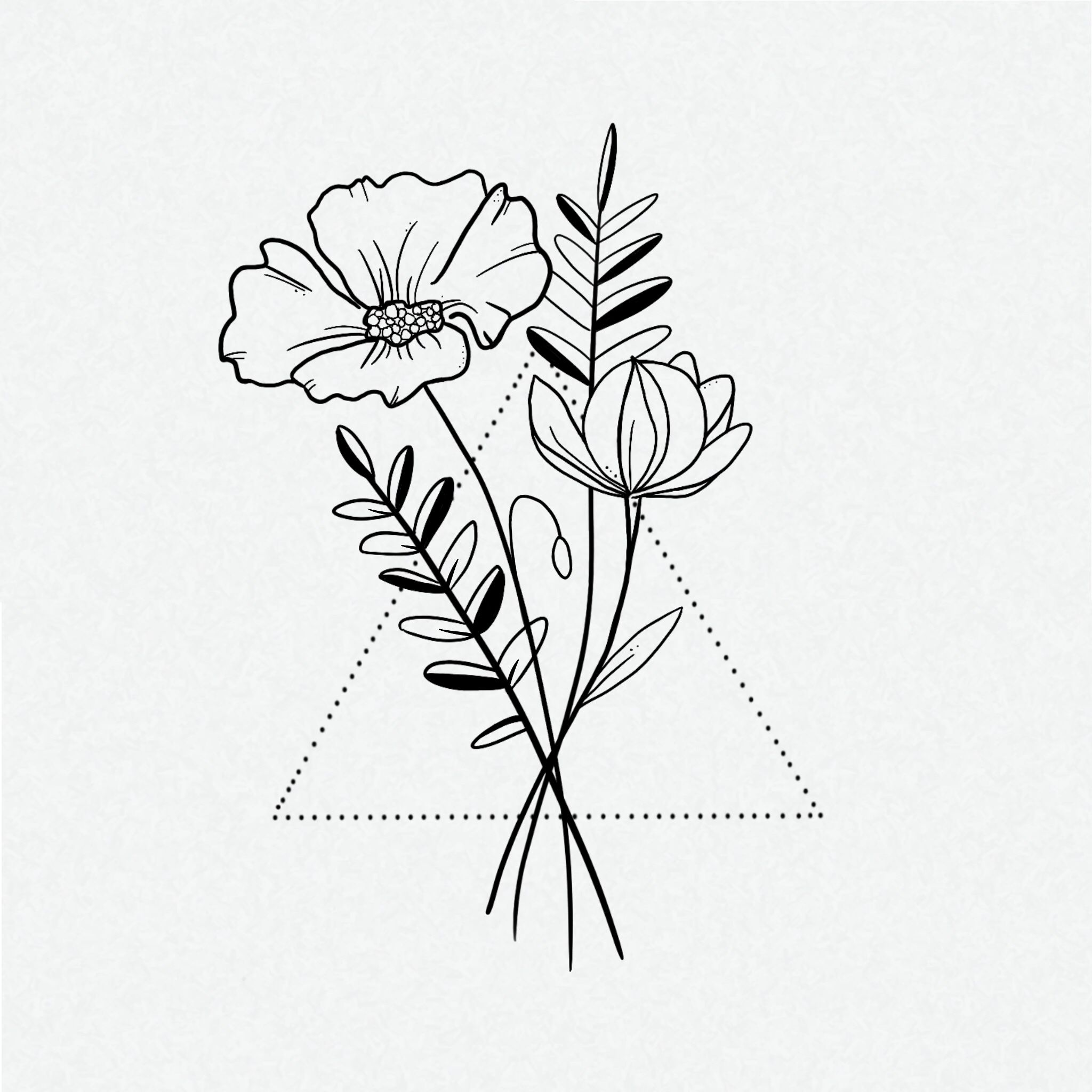 Minimalistic Flower Illustration Design By Studio Lois Flower Illustration Geometric Flower Tattoo Flower Graphic