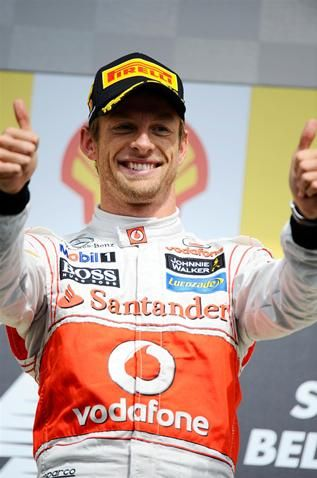 Race winner Jenson Button (GBR) McLaren, on the podium.  Formula One World Championship, Rd12, Belgian Grand Prix, Preparations, Spa-Francorchamps, Belgium, Sunday, 2 September 2012
