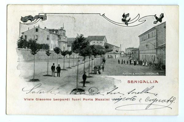Viale Giacomo Leopardi,fuori Porta Mazzini. Da una vecchia stampa(firmata: Puccini& Massa),uso cartolina, dell'epoca (? ). Senigallia, prov. di Ancona, Marche. [44163.jpg (600×398)]