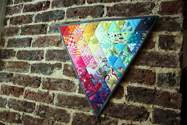 Equilateral triangles + rainbow scraps = quilty heaven!