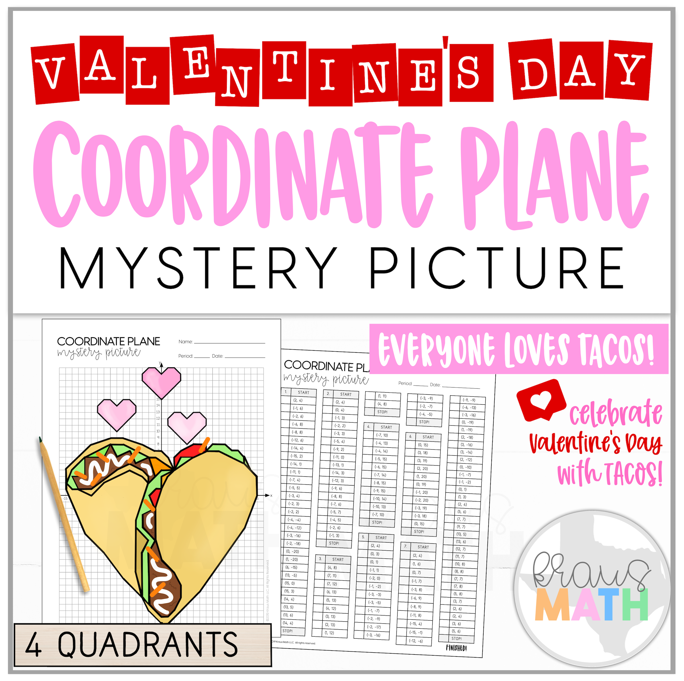 Valentine S Day Taco Love Coordinate Plane Mystery Picture