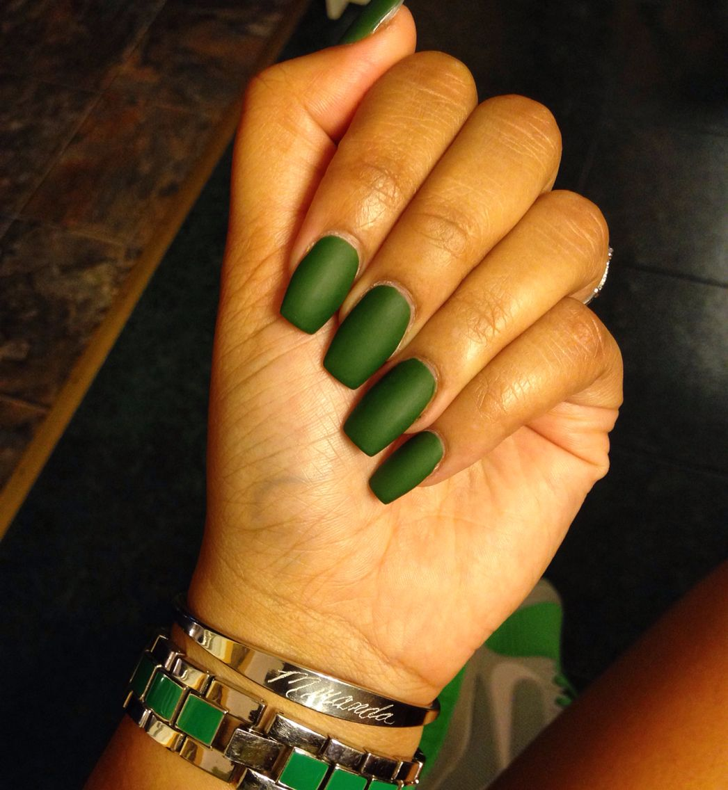 Army green matte nails | Nails | Pinterest | Matte nails