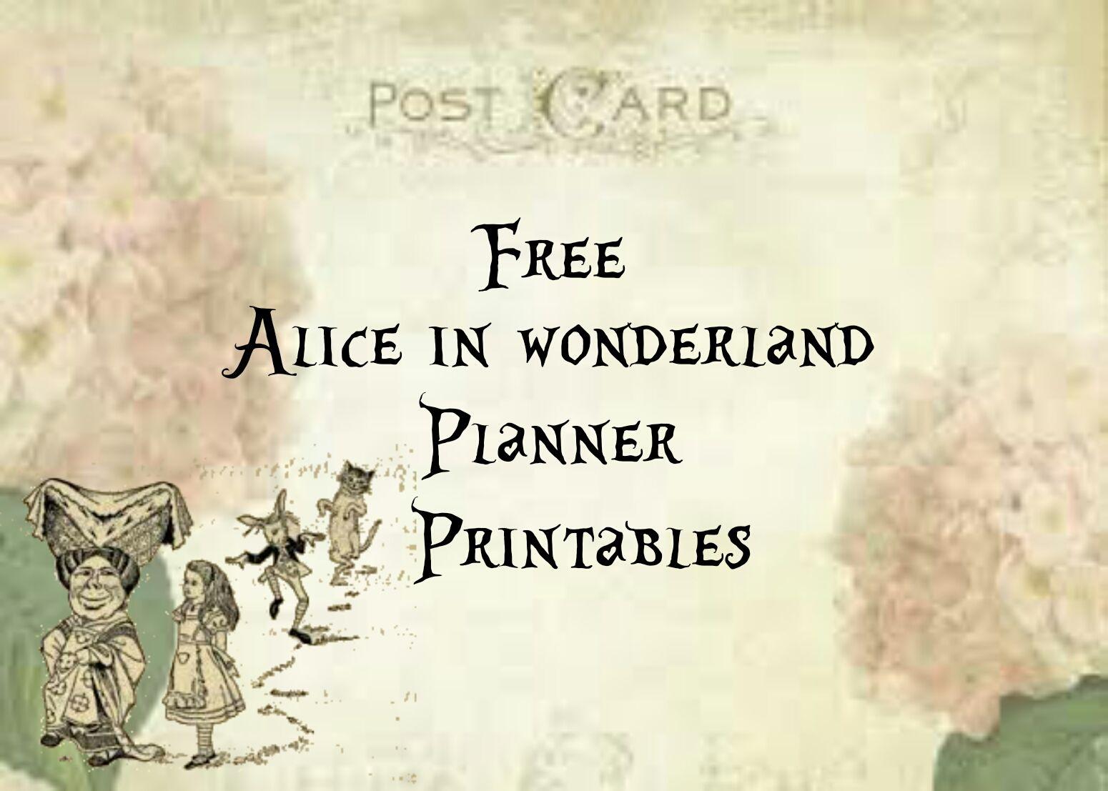 Alice In Wonderland Free Planner Printables