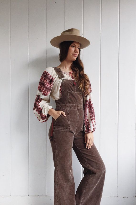 bc84022164c Vintage Corduroy Overalls   Brown Bell Bottom Romper   Jumpsuit Union Made    Flare   70 s   60 s