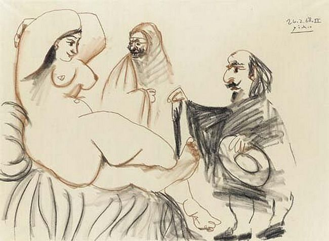 Pablo Picasso. Mousquetaire et courtisane. 1968 year