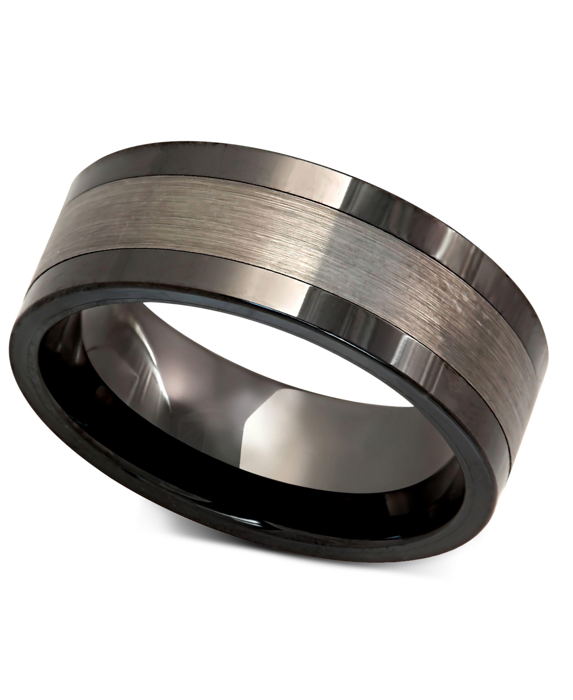 Men's Tungsten Ring, Black Ceramic With Tungsten Inlay