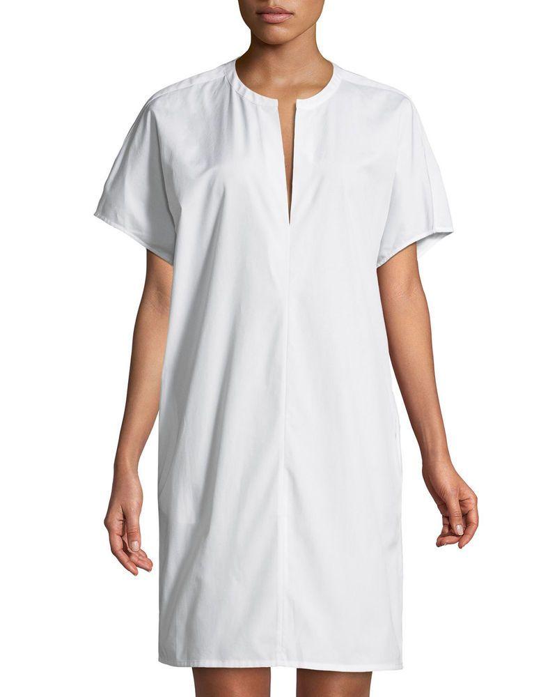 300 Vince Split Neck Cotton Poplin Popover Utility Shirt Dress In White Large Cotton Poplin Shirt Dress Sleeveless Long Dress [ 1000 x 800 Pixel ]