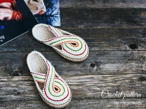 taille S//M//L Crochet Pattern femmes pantoufle/'s