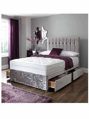 Best Details About Crushed Velvet 4Ft6 Silver Divan Bed With 400 x 300