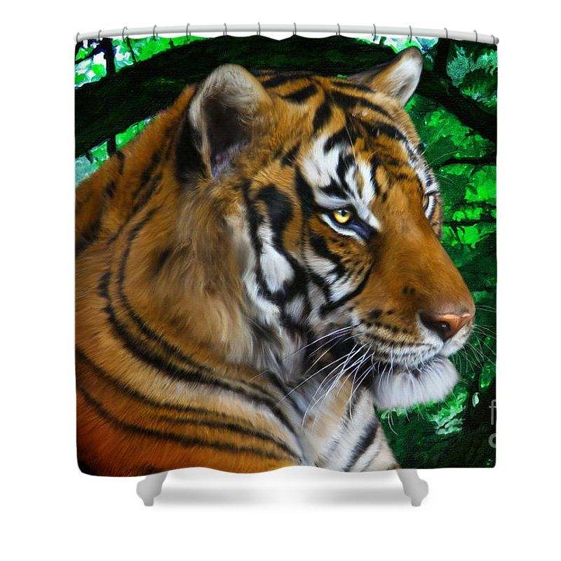 Tiger Contemplation shower curtain - tiger digital painting by Tracey Everington